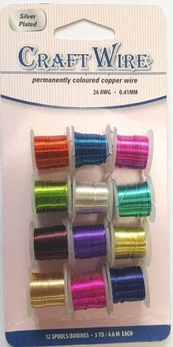 Assorted 0.41mm Copper Craft Wire (12 spools)